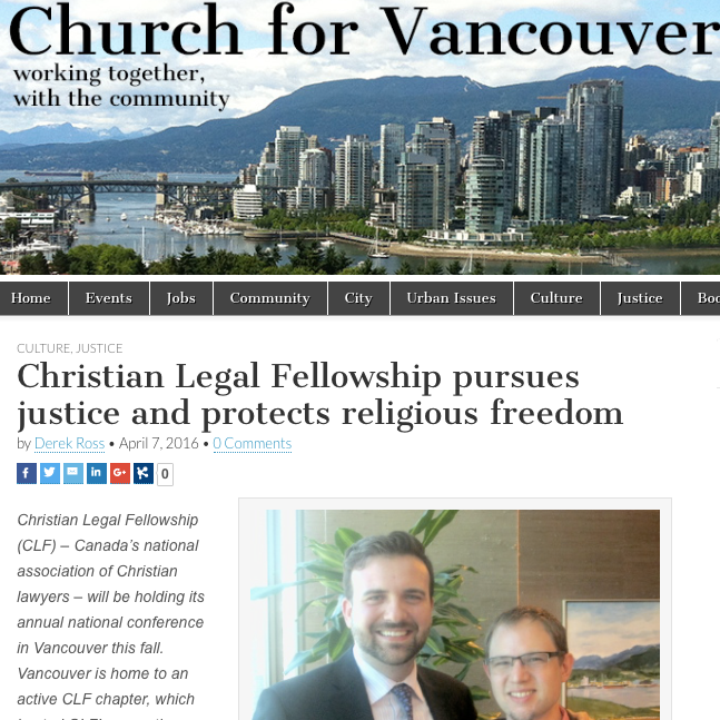 Church for Vancouver: - Christian Legal Fellowship pursues justice and protects religious freedom