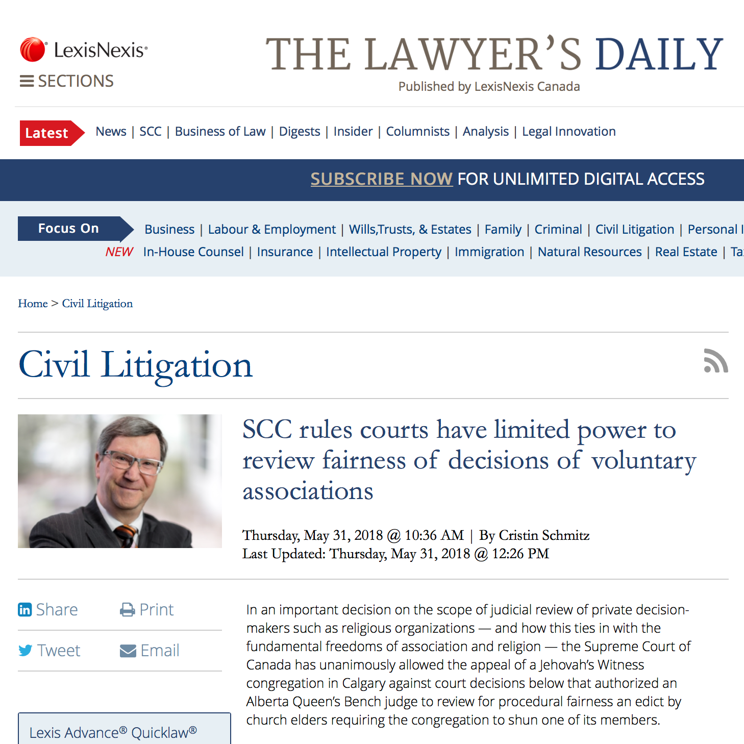 The Lawyer's Daily: - SCC rules courts have limited power to review fairness of decisions of voluntary associations