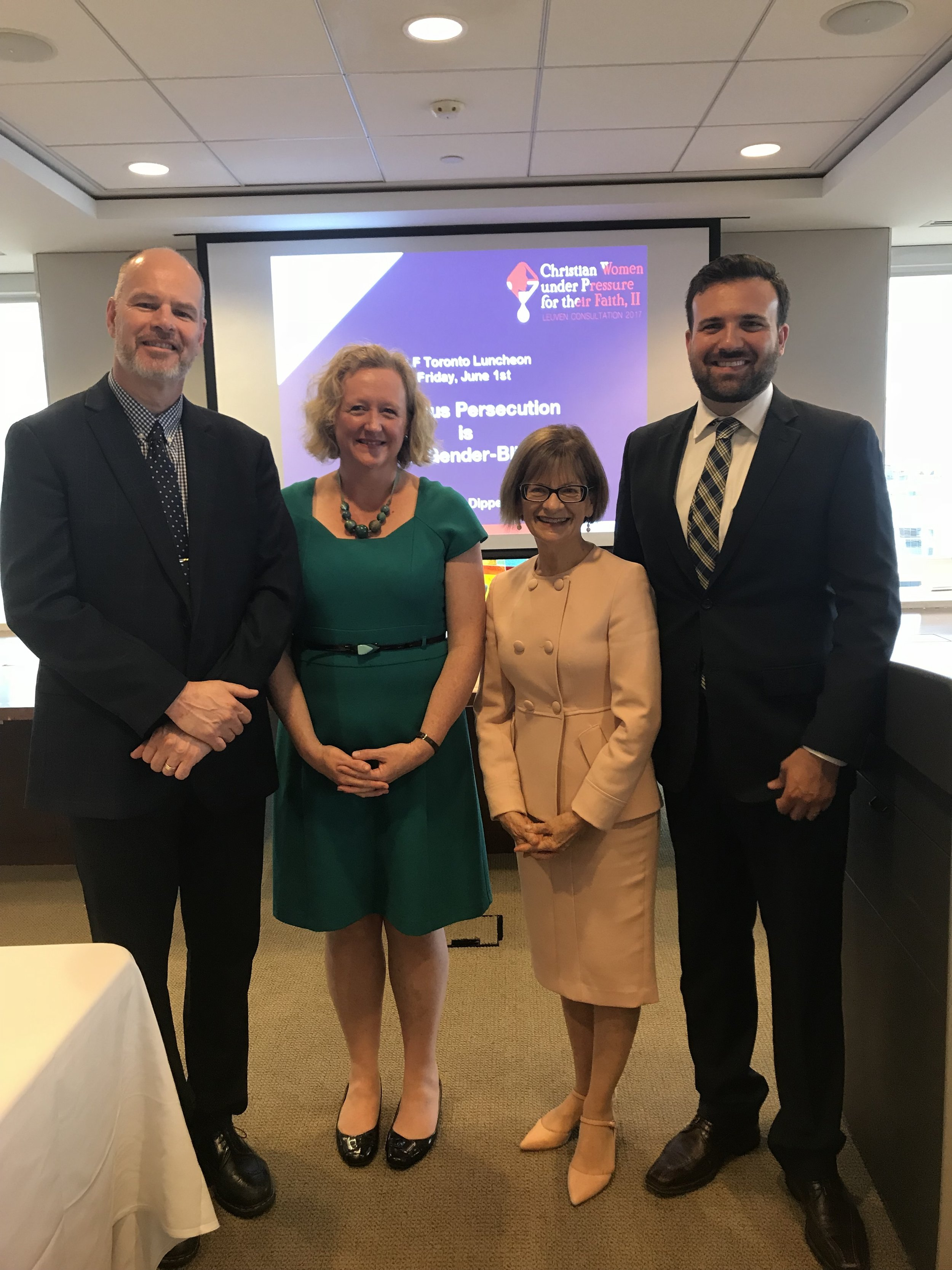 Pictured left to right: Floyd Brobbel (VP of International Ministry & Operations, VOM Canada), Emma, Ruth Ross (Special Advisor, CLF), and Derek Ross (ED & General Counsel, CLF)