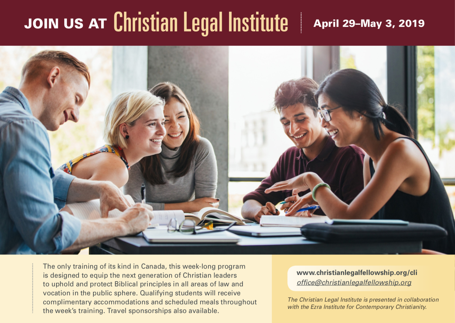 Registration  is now closed for the 2019 Christian Legal Institute. Stay tuned for details on next year's CLI!