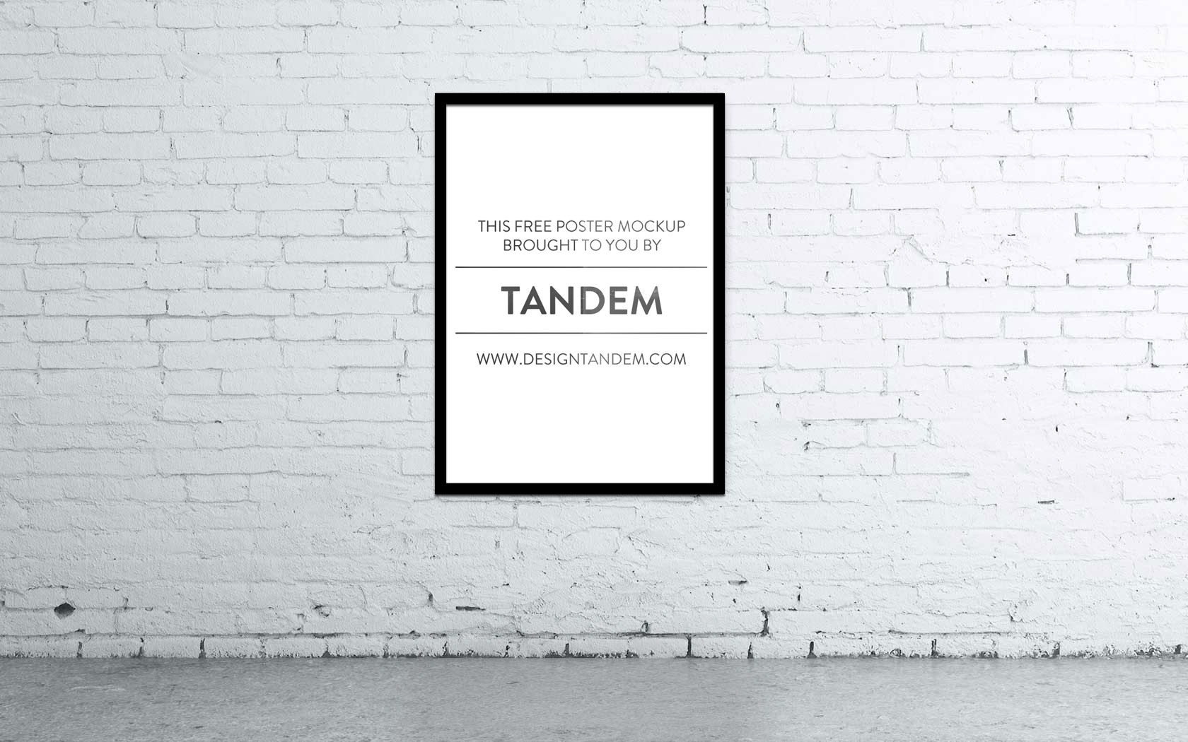 Wall Poster Mockup PSD - Free hi-res photorealistic wall poster Mockup. Brought to you by the team at Design TANDEM to help you display your work in a great way.Just click the image above to download the file.