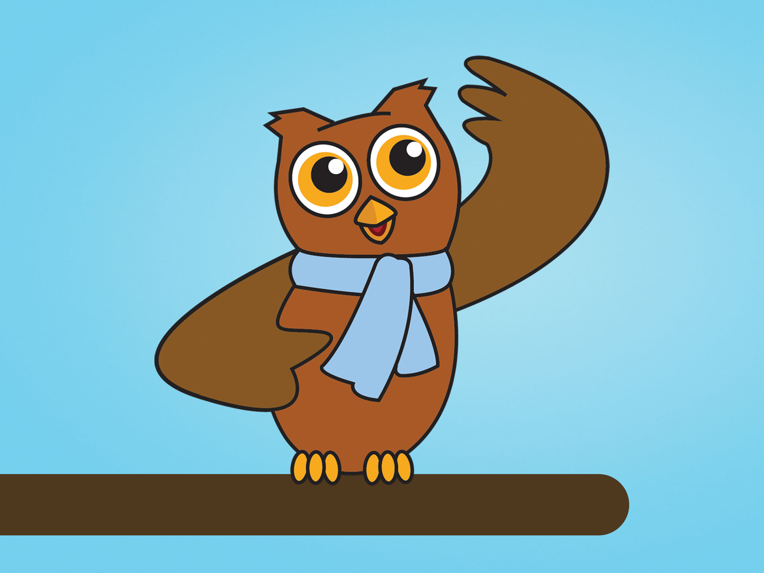 Simon the Owl - Mascot illustration for Speech-Language and Audiology Canada (SAC).