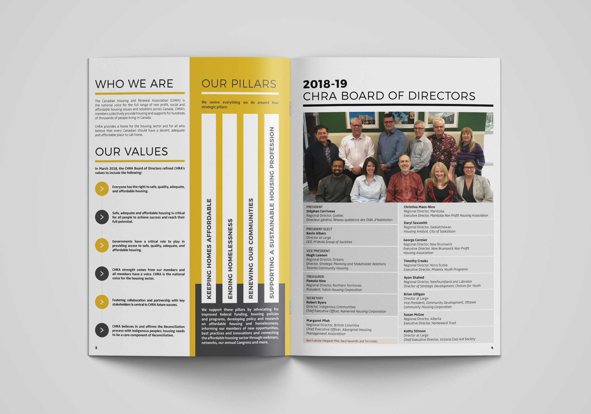 2018 Annual Report Pillars and Board of Directors.