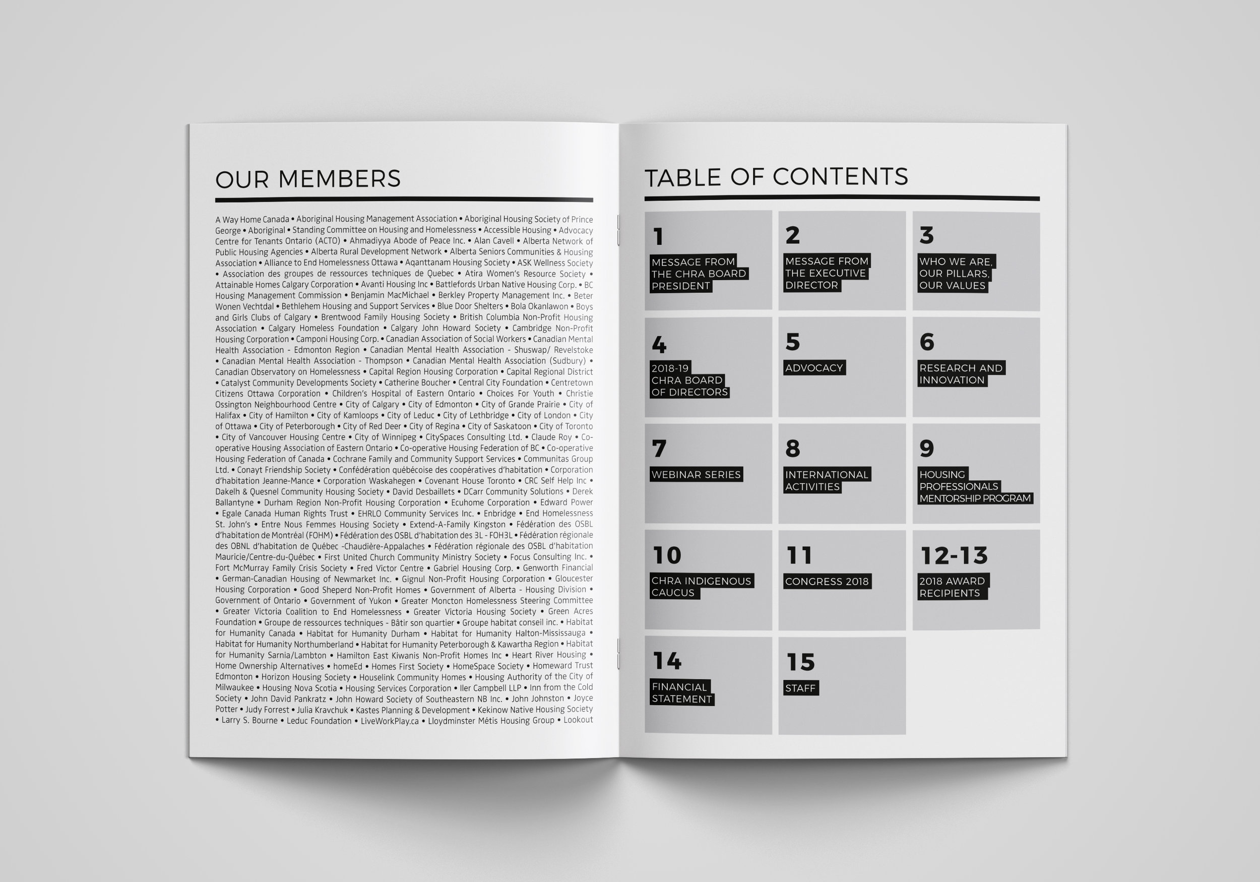 2018 Annual Report Membership and Table of Contents.
