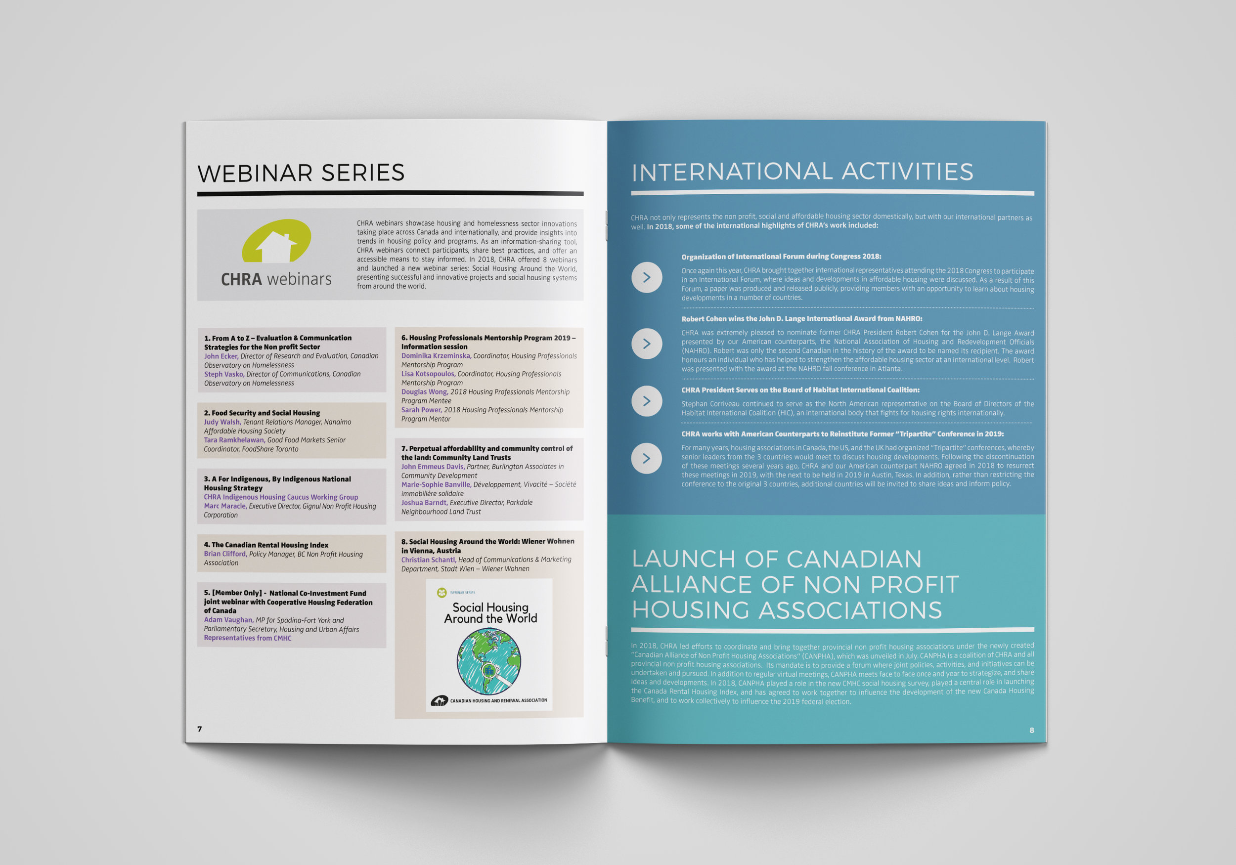 2018 Annual Report Webinars and International Activities.