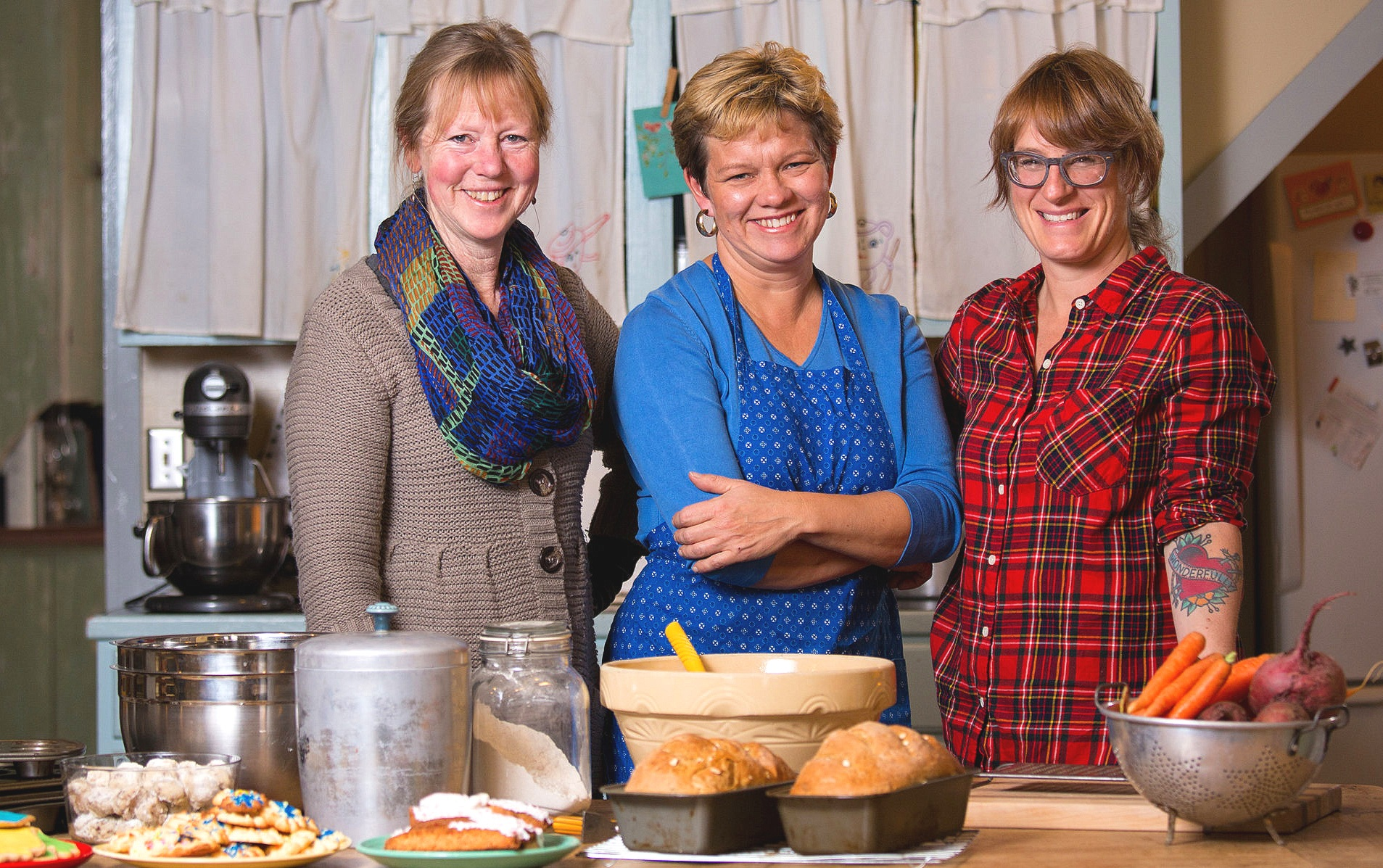(l to r) Dela Ends, Lisa Kivirist, Kriss Marion—Soil Sisters and winning plaintiffs in the 2017 Wisconsin ruling that repealed the state ban on the sale of home-baked goods.  (Photo copyright Institute for Justice.)