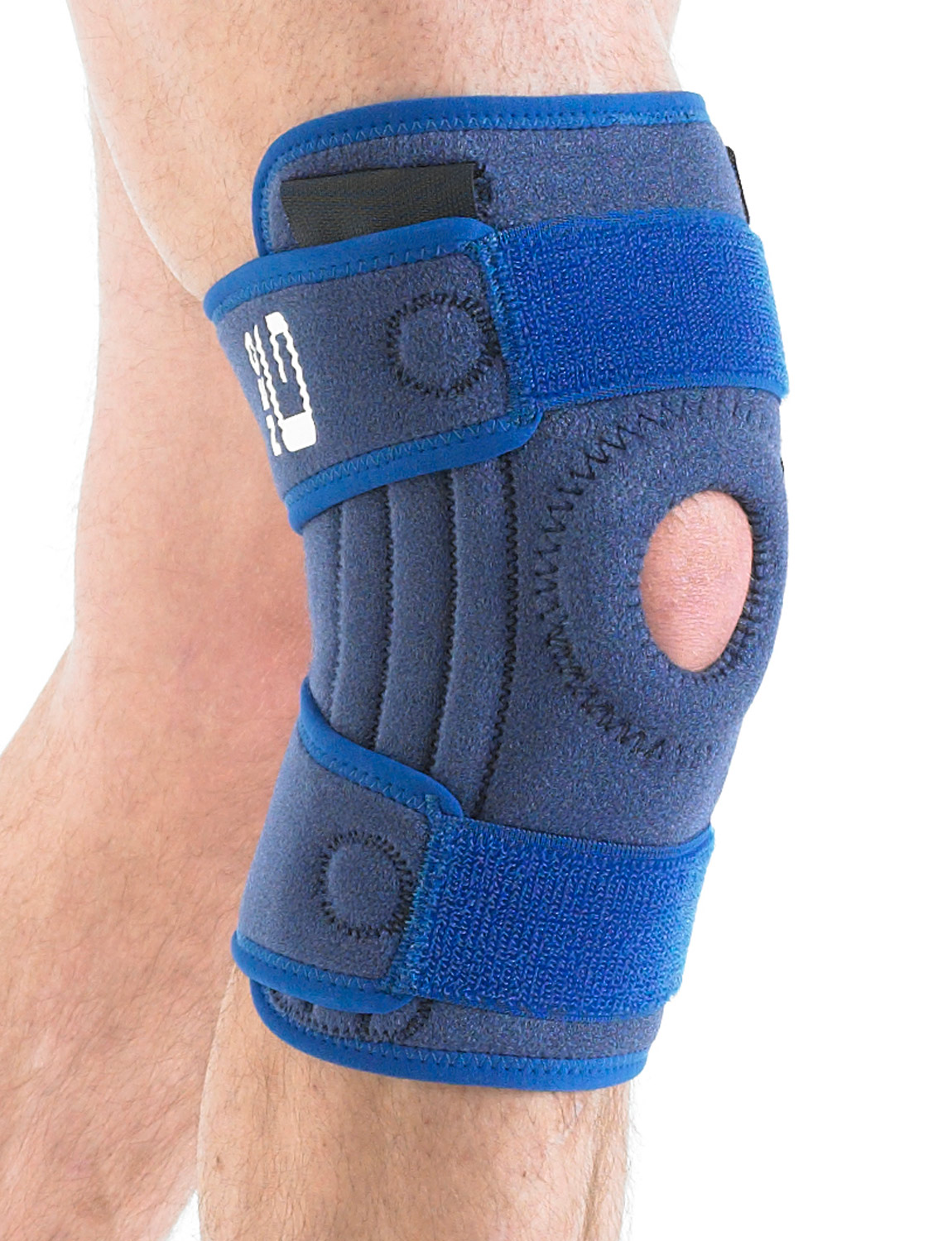893 - STABILIZED OPEN KNEE SUPPORT  The open patella design with stitched buttress helps with patellar tracking whilst providing added support and helping with overall stability by eliminating glide and twisting at the knee.