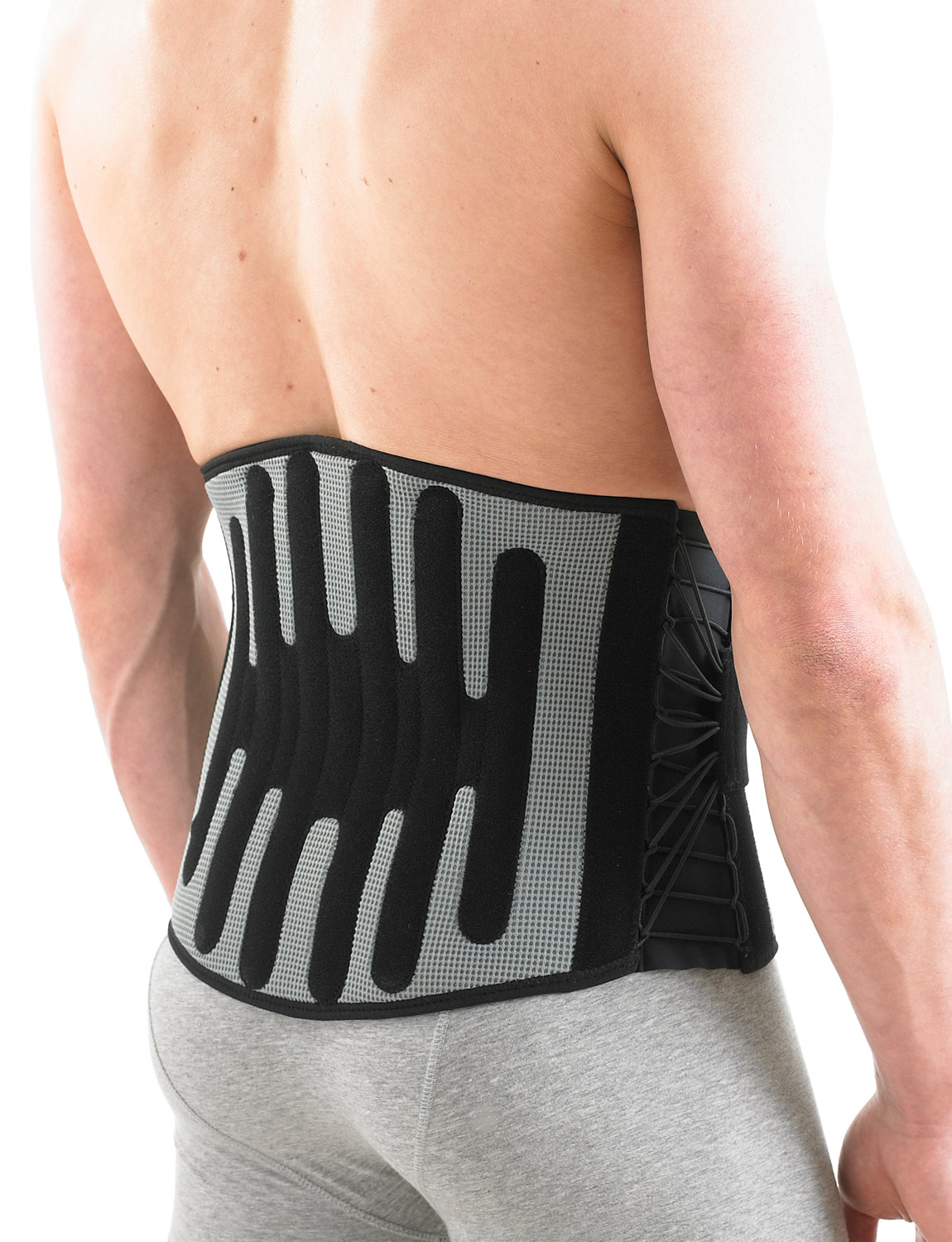 161 - STABILIZED BACK BRACE  Helps with rehabilitation following lumbar joint or muscle strains or pains. The support fastens with a two-part system that features an elasticated lacing mechanism that cinches around the lumbar area combined with power straps. This enables adjustable support, and helps prevent unwanted twisting and over-stretching whilst maintaining correct posture, ideal for people suffering from chronic backache due to repetitive sporting or occupational activities.