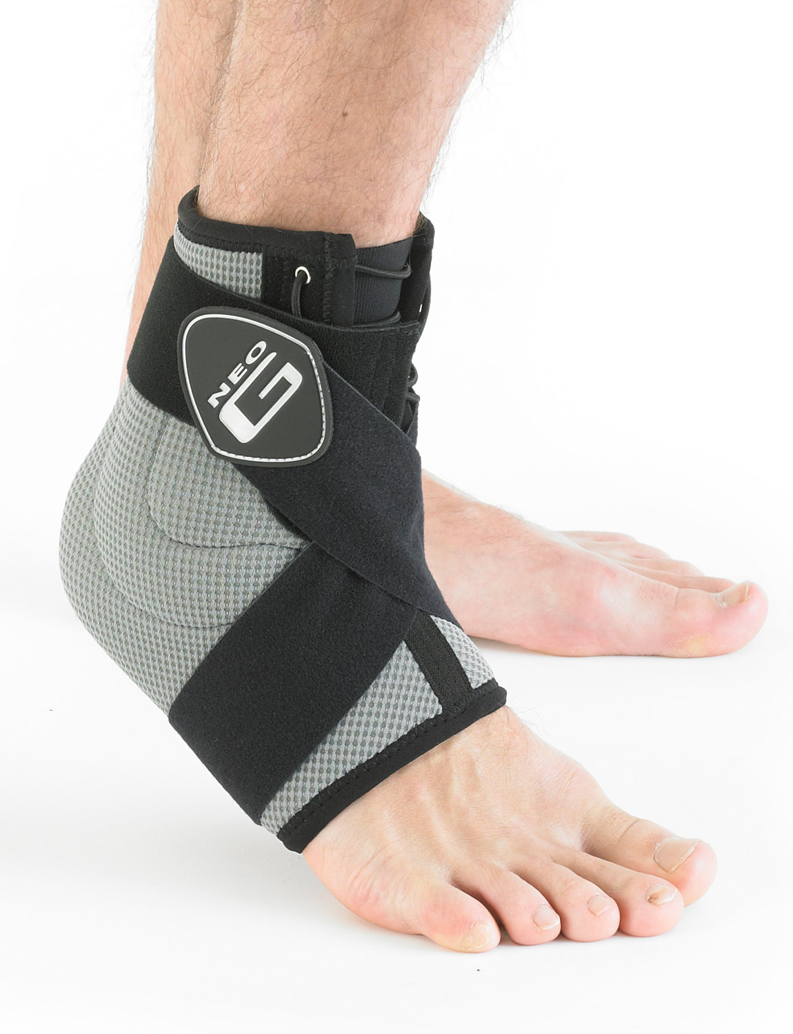 164 - STABILIZED ANKLE SUPPORT   Designed to help provide dynamic support around the ankle complex. The adjustable figure of 8 strap helps provide added support and compression during sporting and occupational activities. The support also helps to reduce excessive planterflexion, inversion and eversion movements at the ankle, useful with ligamentous injury and instability.