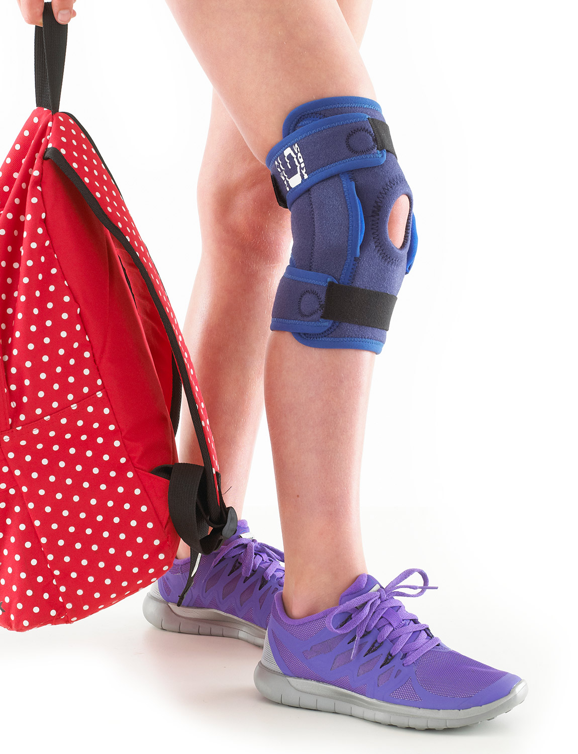 894K - KIDS HINGED KNEE SUPPORT  Specifically designed for the younger wearer and offers a two point geared hinge system to help control flexion and extension movements whilst helping reduce unwanted medial and lateral instability. The open patella area helps with patellar tracking problems. Featuring three adjustable straps, the support helps provide maximum joint protection and stability, making it suitable for use during rehabilitation following trauma or surgery. Weight bearing pressure during movement is more evenly distributed over the joint helping with arthritic and meniscus pain. The durable, heat therapeutic neoprene helps with arthritic knees, chronic aches and stiffness.