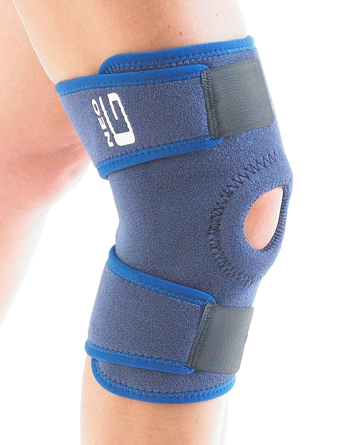 885 - OPEN KNEE SUPPORT  The open patella design with stitched buttress helps with patellar tracking whilst providing added support and helping with overall stability by eliminating glide and twisting at the knee.