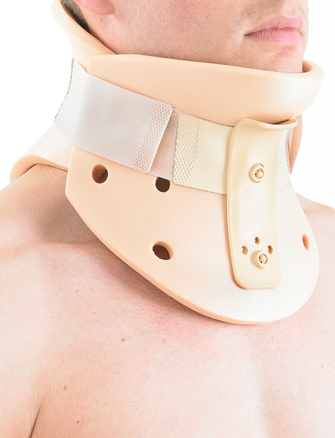 205 - PHILADELPHIA COLLAR  Especially useful following surgery and in rehabilitation, the collar also has an opening to allow tracheal access. The moulded structure helps place the cervical spine in sight protraction, helping with relief for flexion injuries, promoting correct cervical posture and alignment.