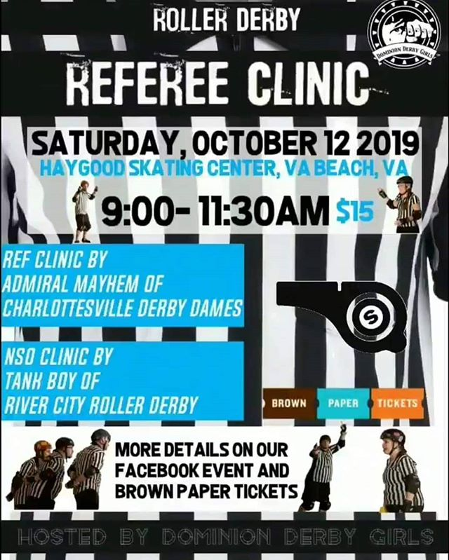 @dominion_derby_girls are hosting a ref and nso clinic on Oct 12 in Virginia Beach!!! Our very own Head NSO @kevin_smith917 will be running the NSO portion of the clinic! 🤗💚 go check out the event on Dominion Derby Girl's Facebook page!!!