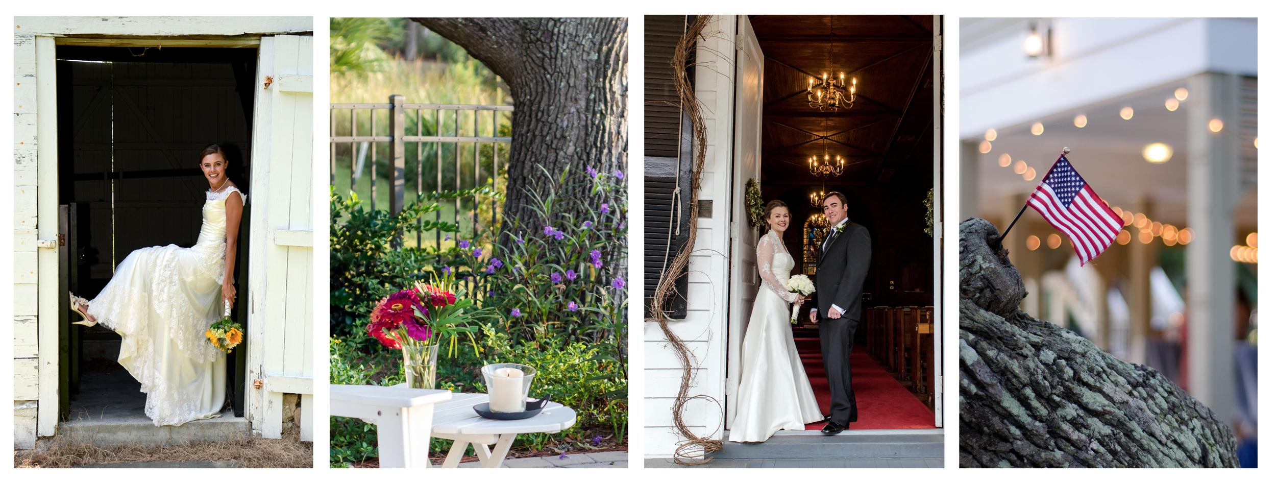Bride leaning against door, flowers, bride and groom, American Flag.