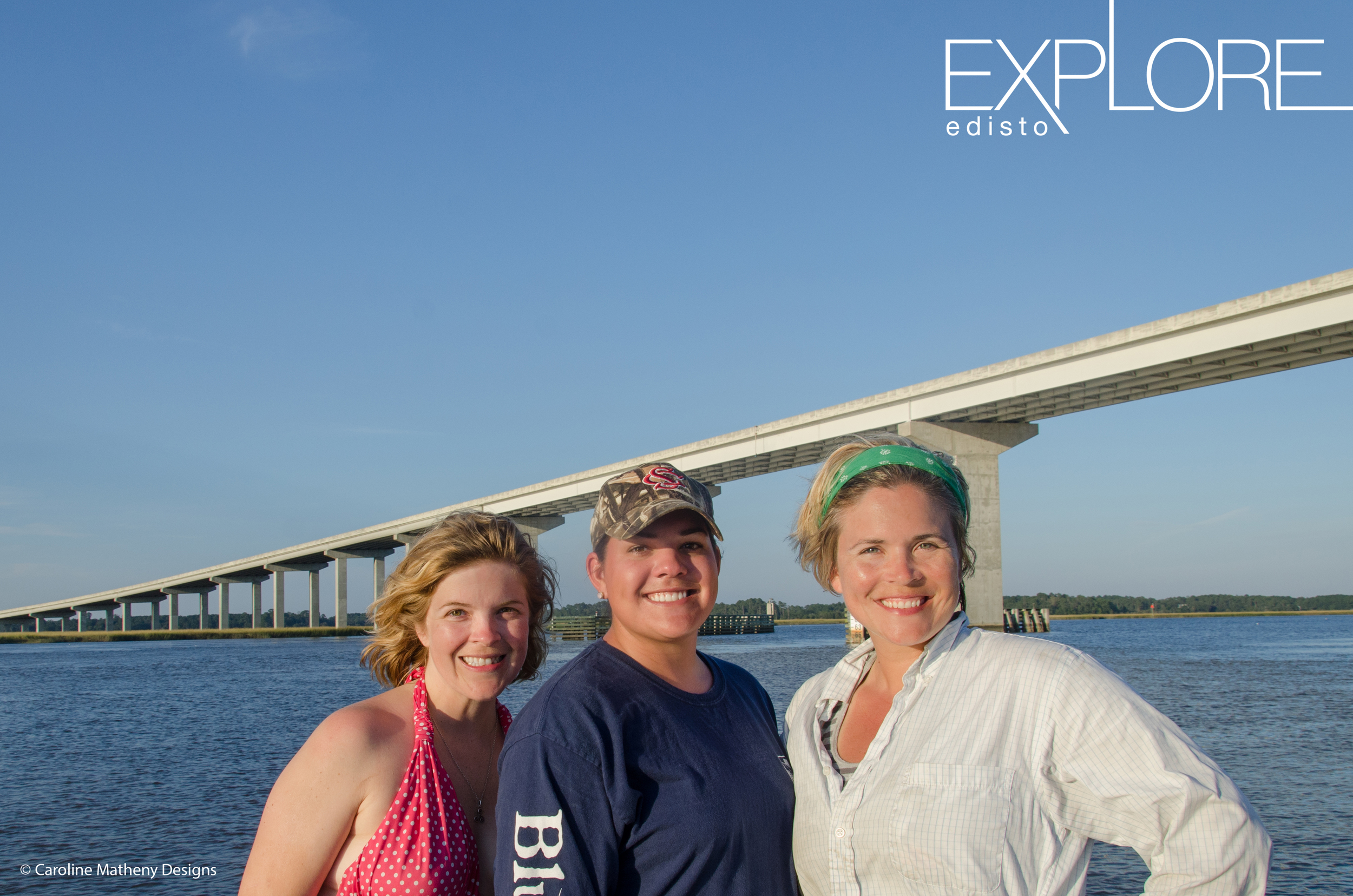 Caroline, Dilly and Julie after returning to Edisto from their paddle down the Combahee River.