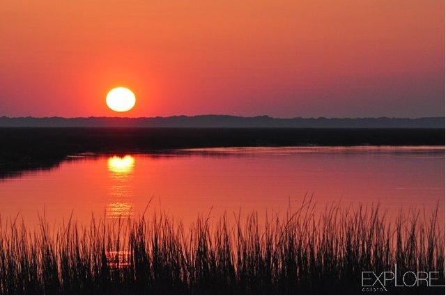 Orange sky, view of sunset from Edisto Beach.