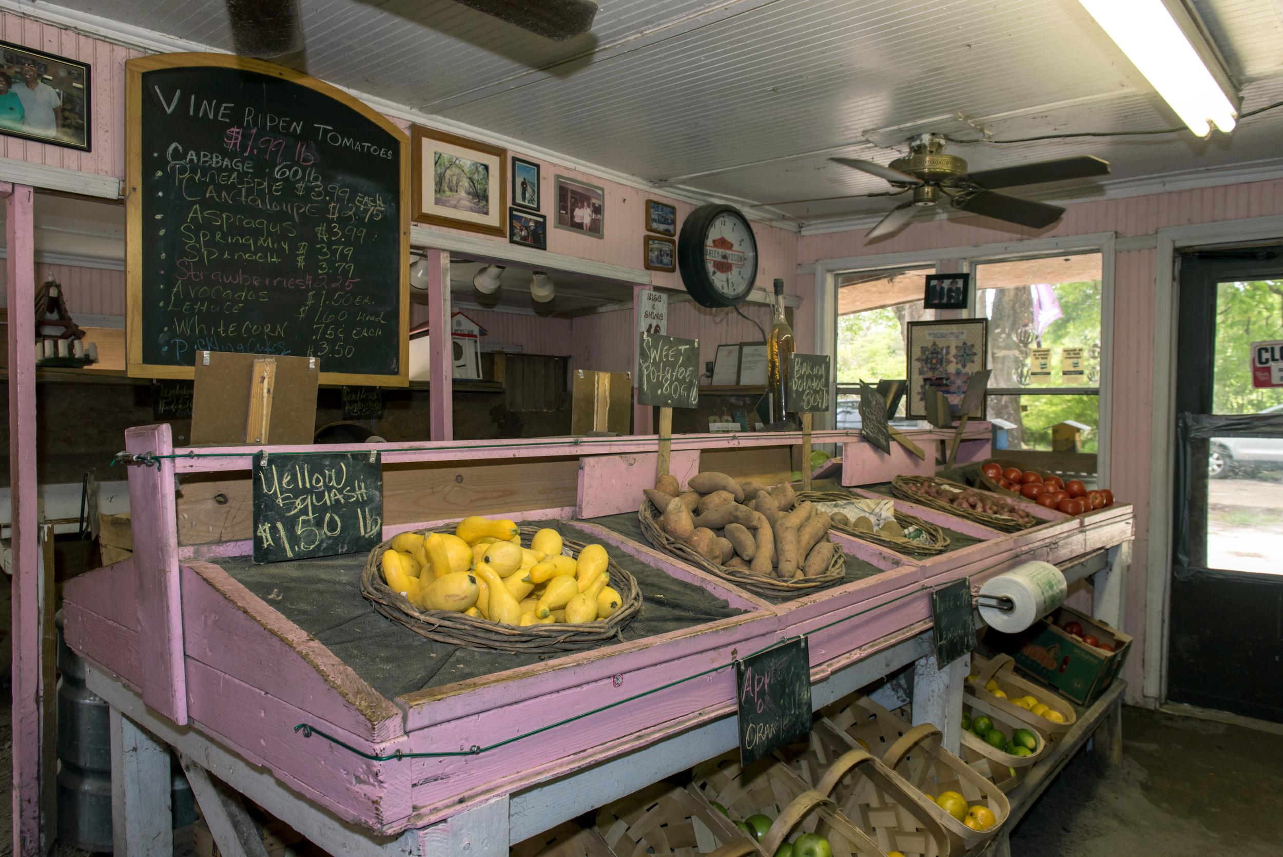 Fresh produce at George & Pink's on Edisto Island, SC.