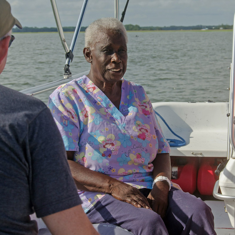 Edisto native, Ms. Sarah Burnell speaking on the Gullah/Geechee tour by Botany Bay Ecotours.
