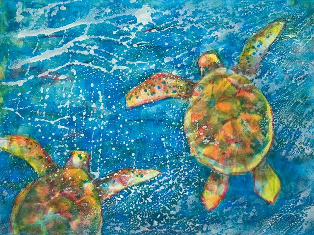 Three color monoprint of Sea Turtles by artist Bonnie Lee.