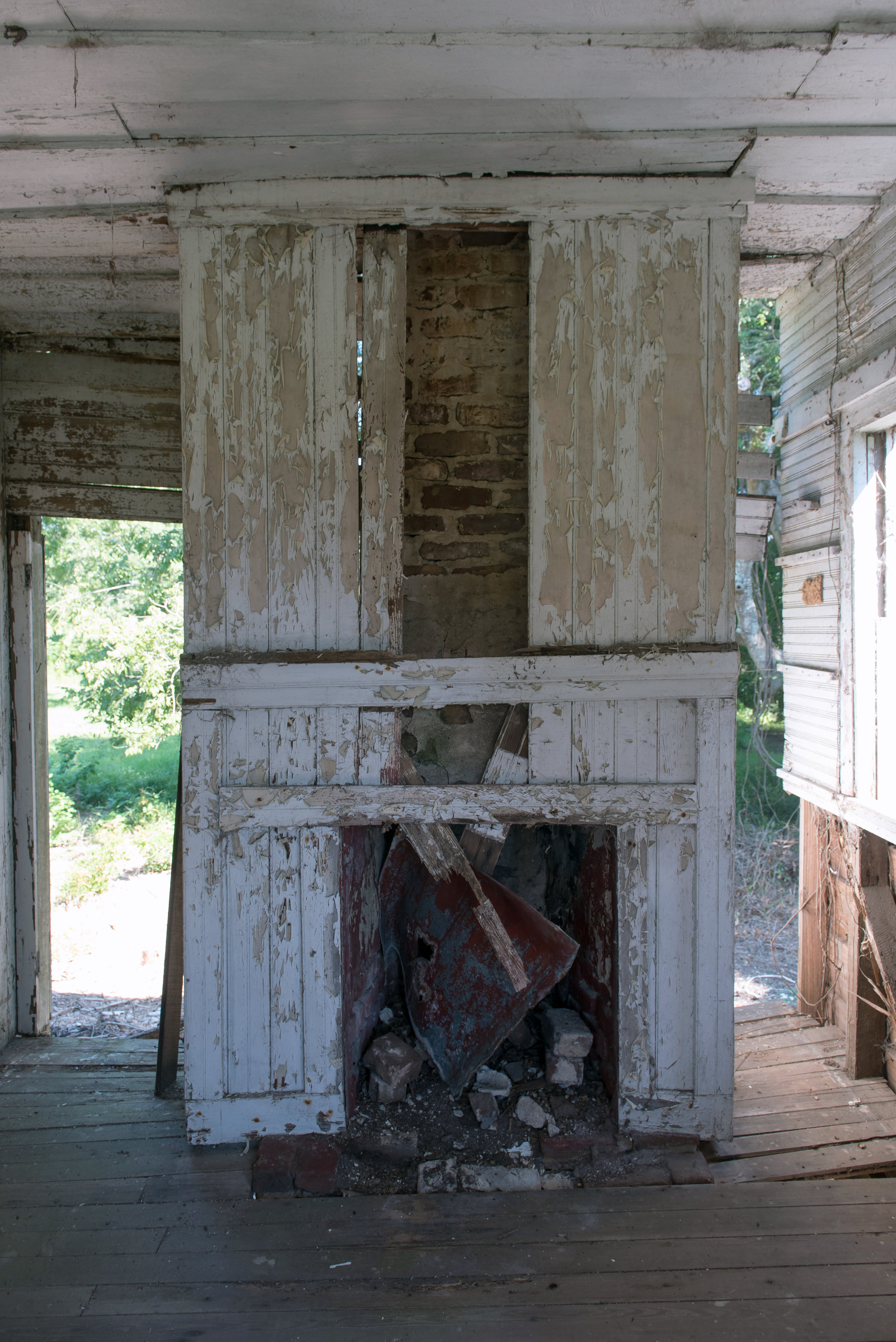 Old fireplace in the interior of the Hutchinson House, Edisto Island, SC.