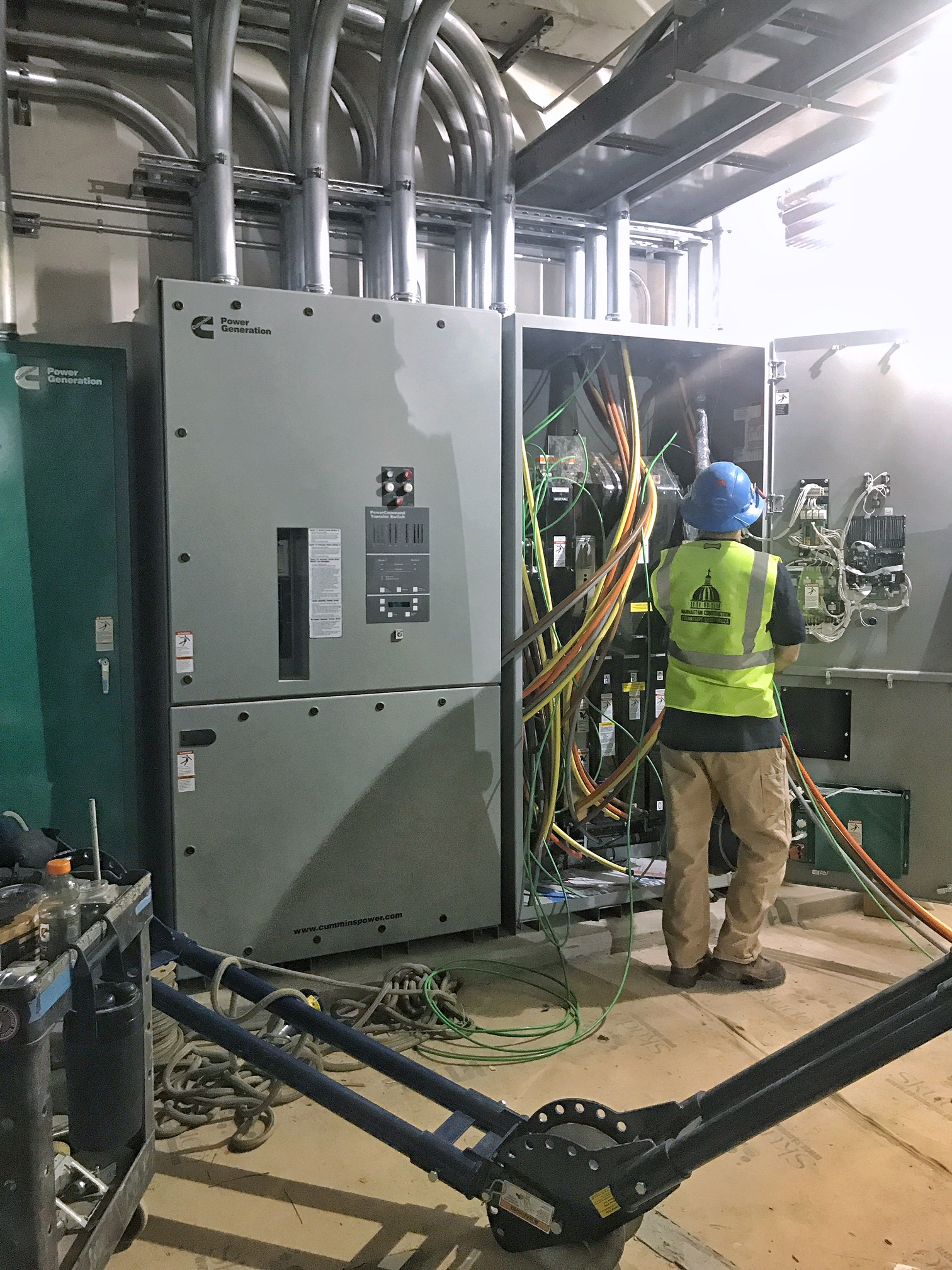 ...these shiny new electrical panels down the hall.