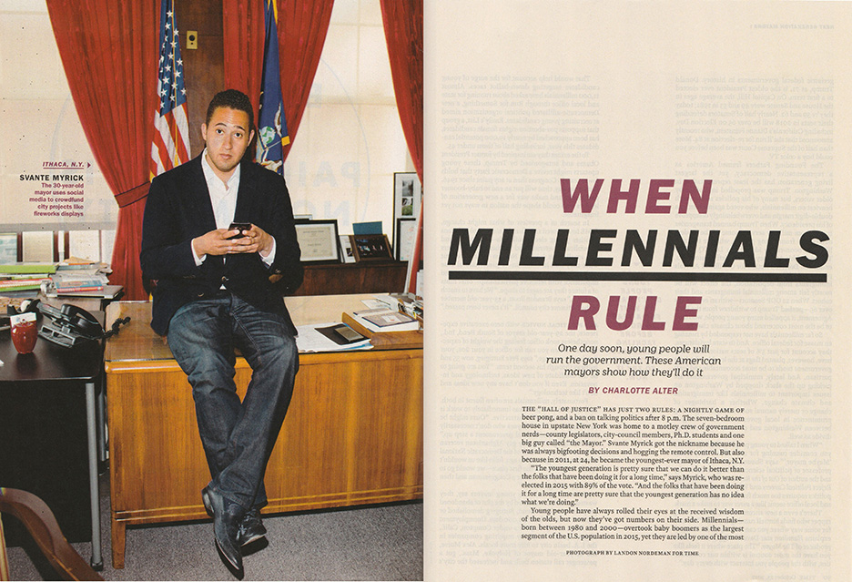October 23 -  TIME:    Landon photographs Svante Myrick, the 30-year-old Mayor of Ithica, for Time