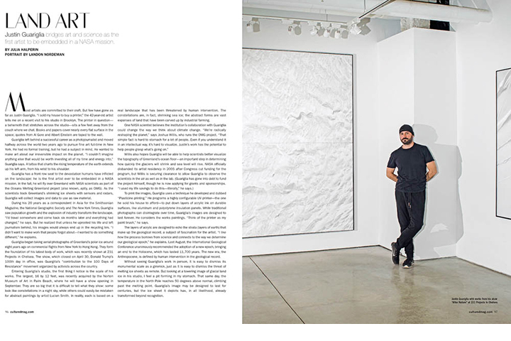 July 1 -  Cultured Magazine :   Landon photographed artist Justin Brice Guariglia for the summer issue