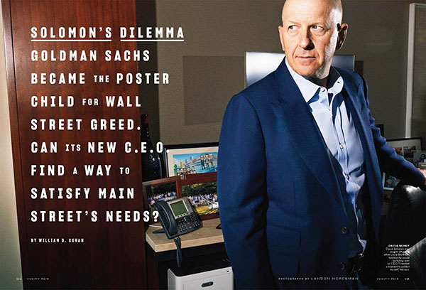 October 10 - David Solomon for Vanity Fair   Landon photographs the CEO of Goldman Sachs