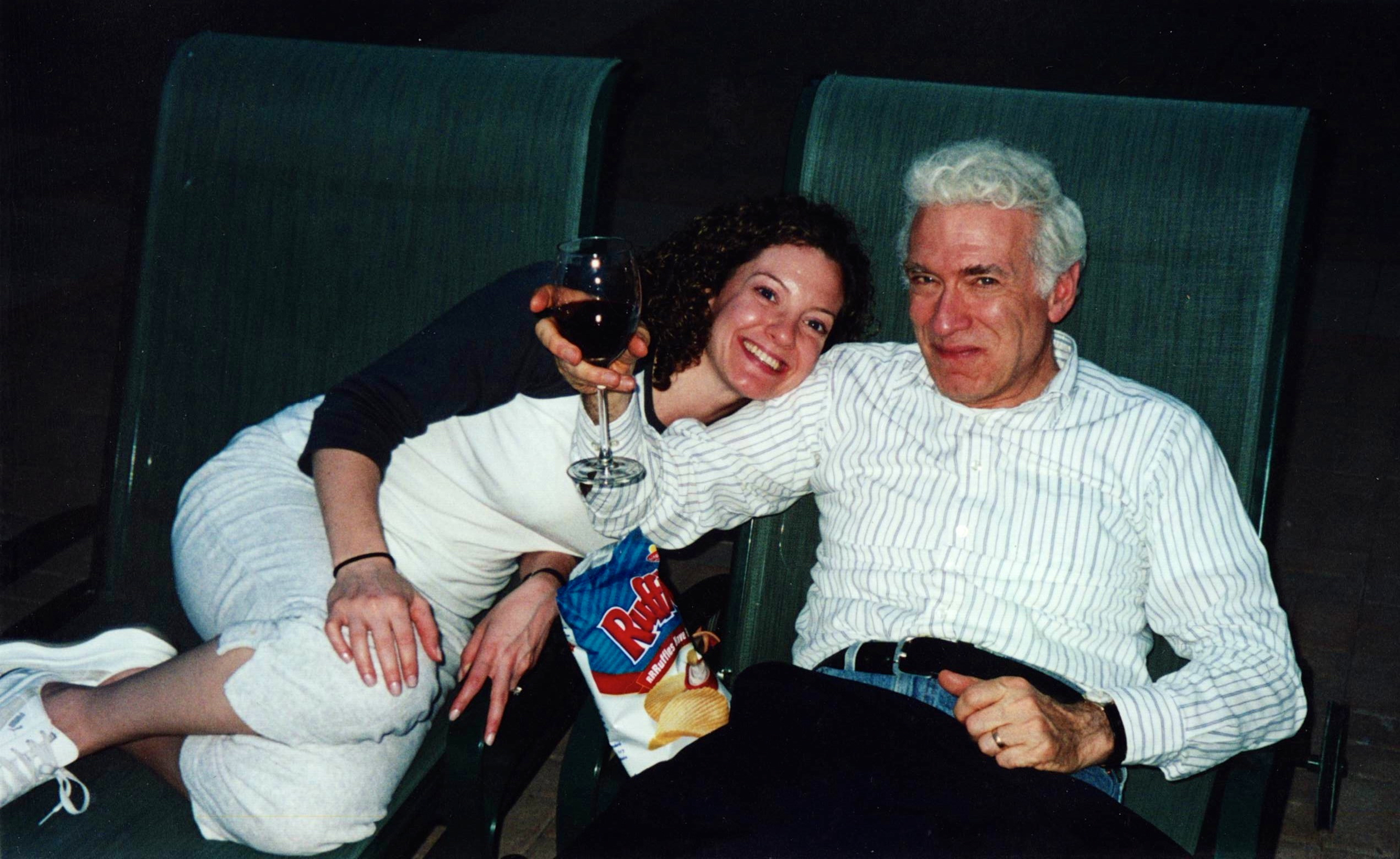 My Dad and I were SUPER happy here.  A random night eating chips and drinking wine.   But, you'll find this odd.  Or maybe you won't.  The best part of this photo are the chips.  Yes, the Ruffles chips.  My father DEVOURED bags of chips -if he could.  His favorite food.  All who knew him always had them on hand when he visited.  They are part of his story.  Who he was, what he liked.  It's captured and that's important for me and my kids to remember about him.