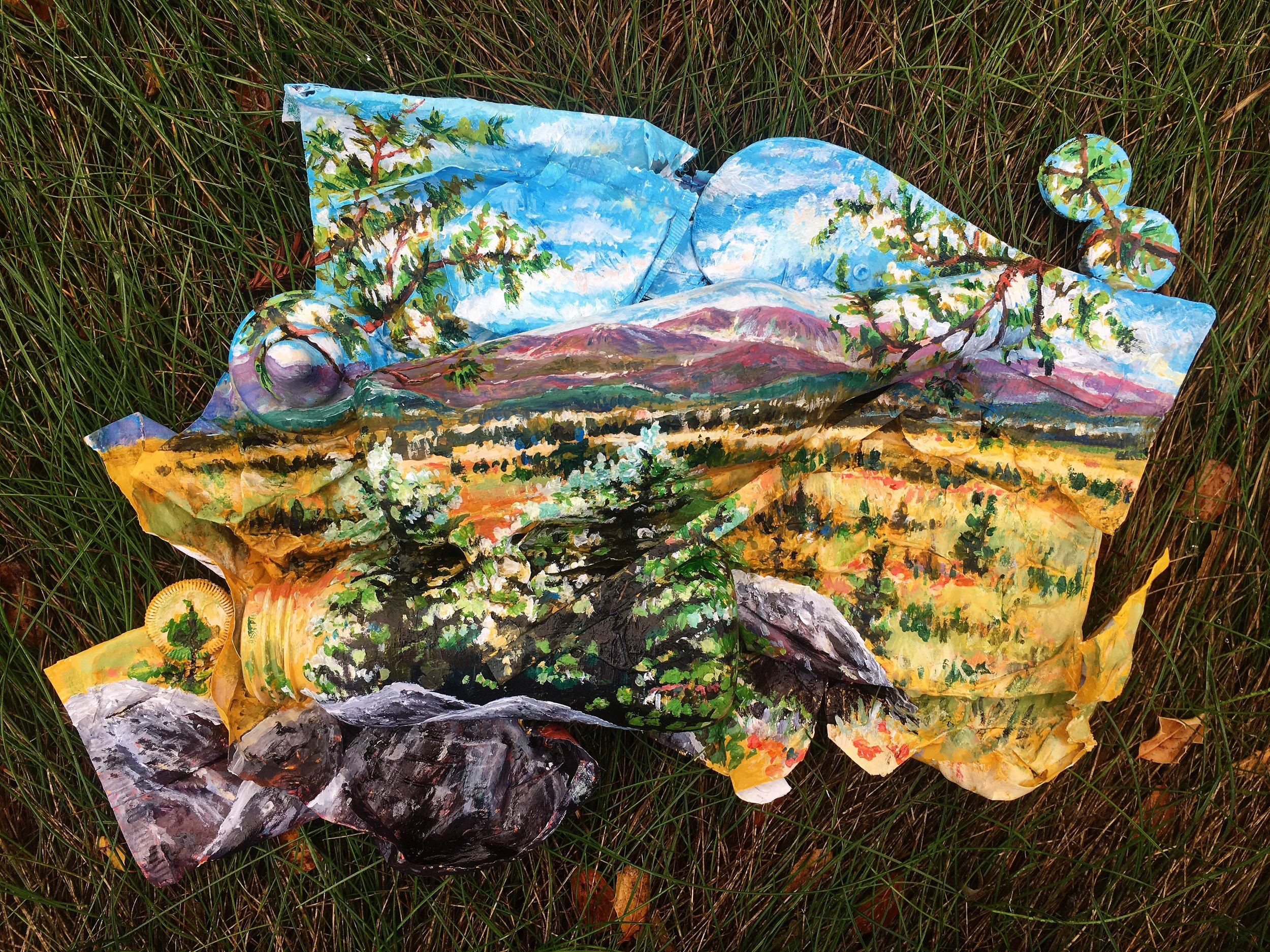 Acrylic on Trash found at the Rocky Mountain National Park (Beer bottle, bottle caps, baby bottle, shoe sole, plastic wrappers)