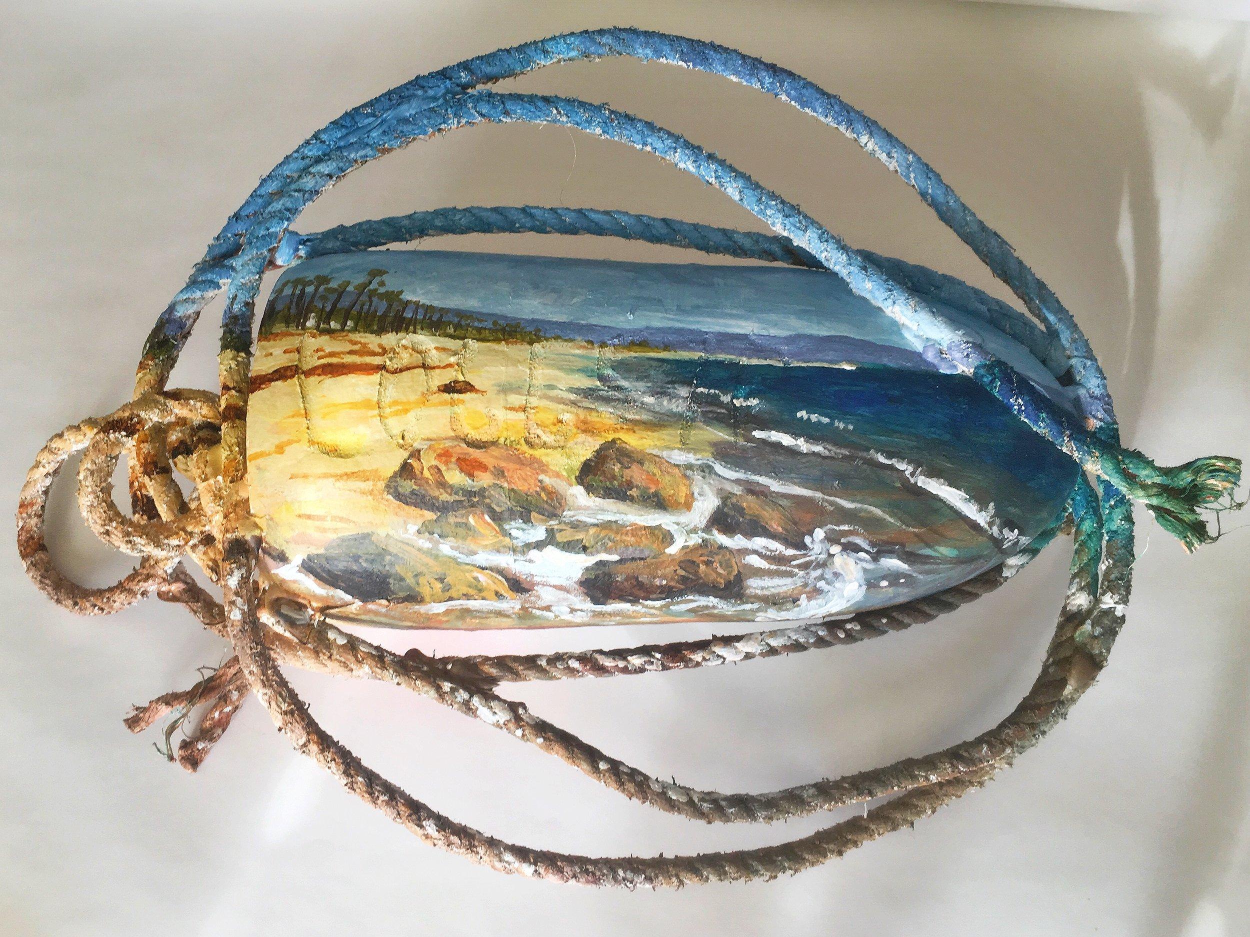 Acrylic on buoy found at East Beach, Santa Barbara