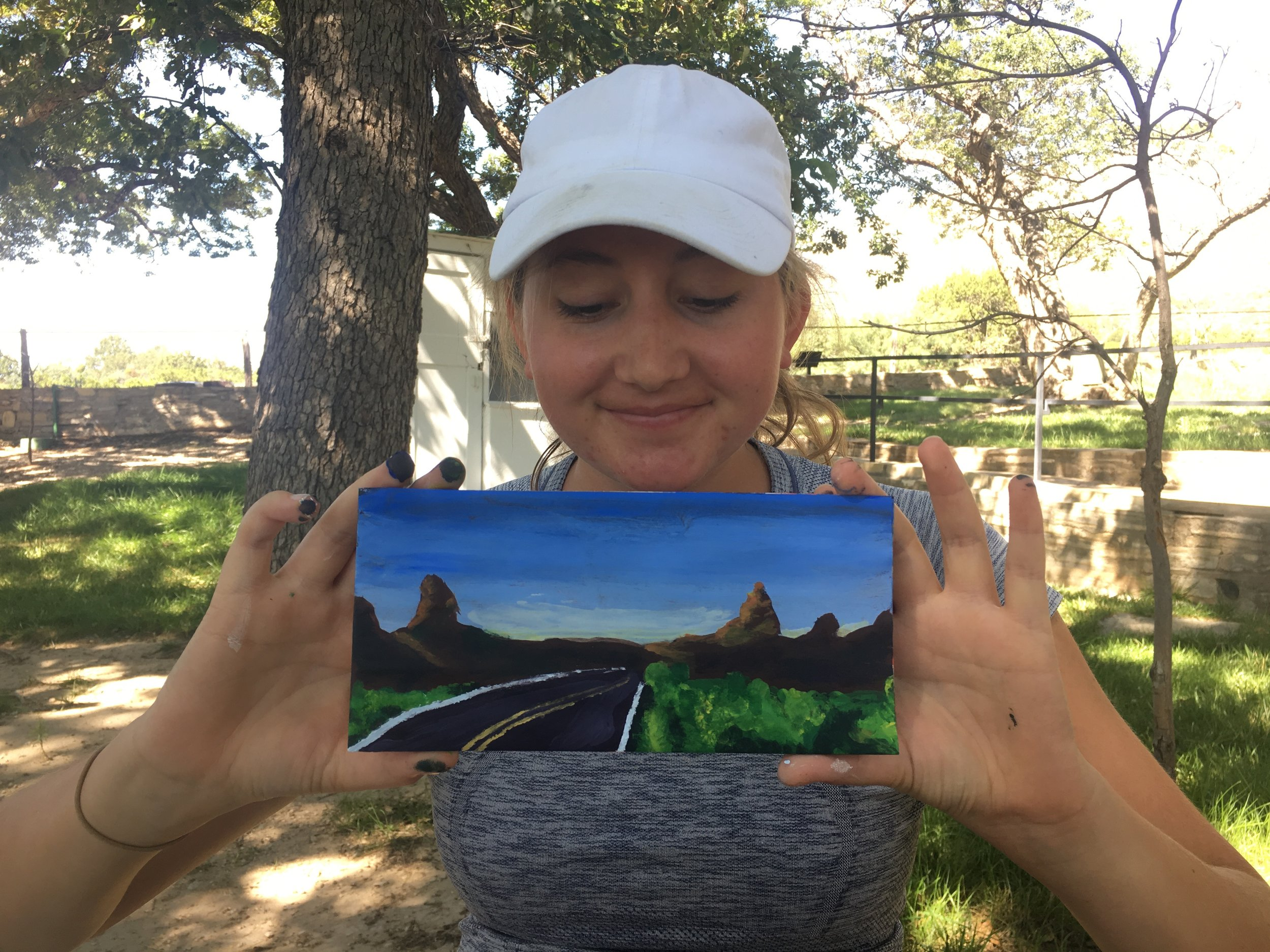Hannah painted Big Bend on a GUMO map to display the road trip from park to park!