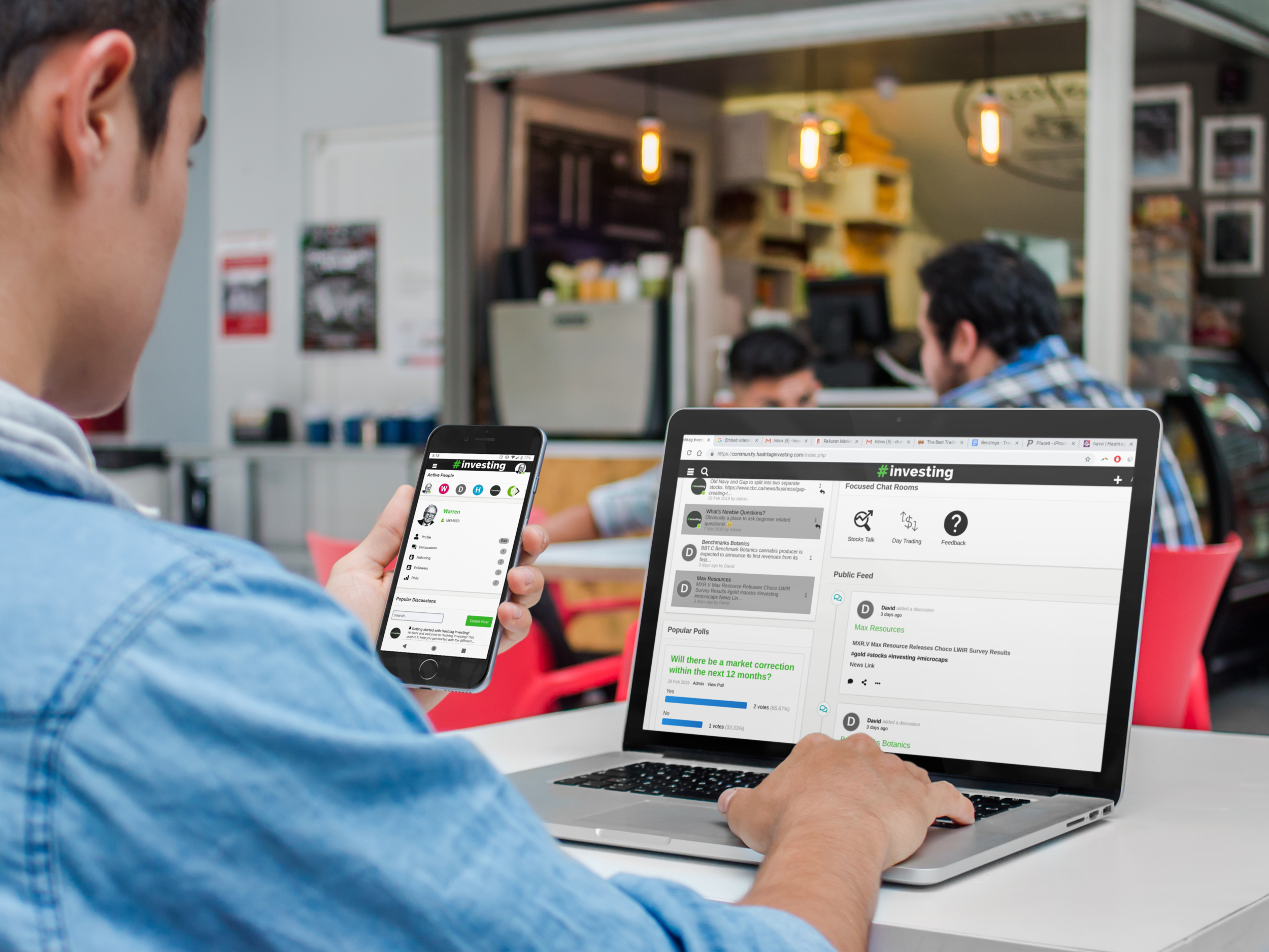 iphone-and-macbook-mockup-of-a-young-man-at-the-cafeteria-a4635.png