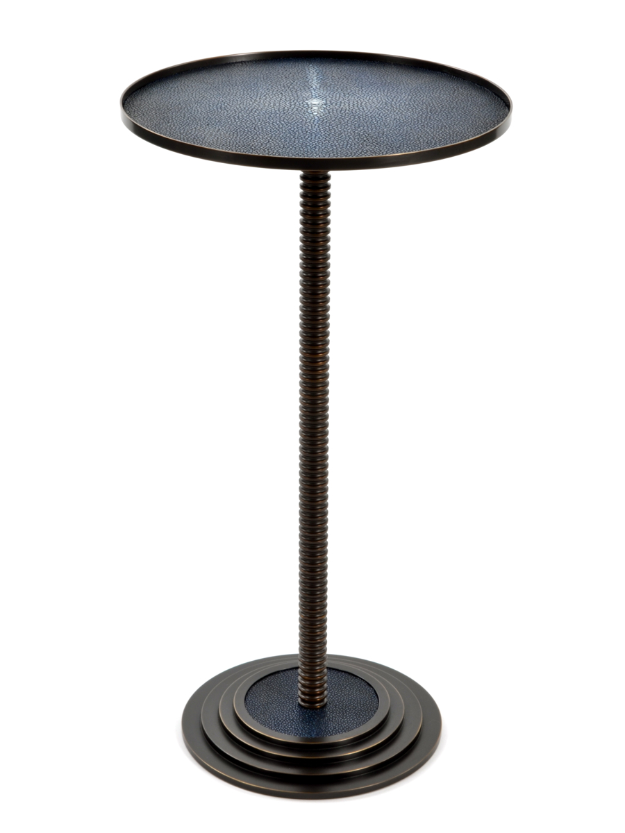 Customized Cooper drink table  Custom size top, height and Shagreen top.