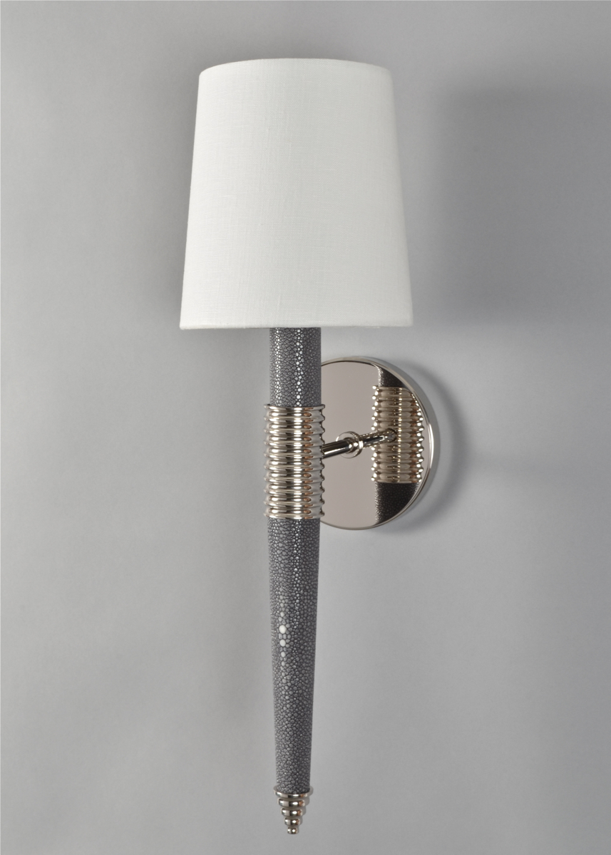 Customized wall sconce in custom color Grey Shagreen.