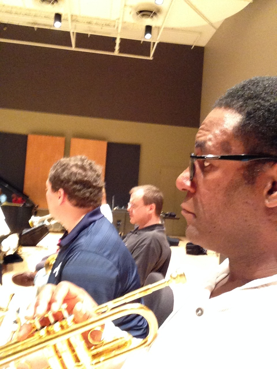 Brandon with Jazz at Lincoln Center Trumpet Section (Marcus Printup and Ryan Kisor)
