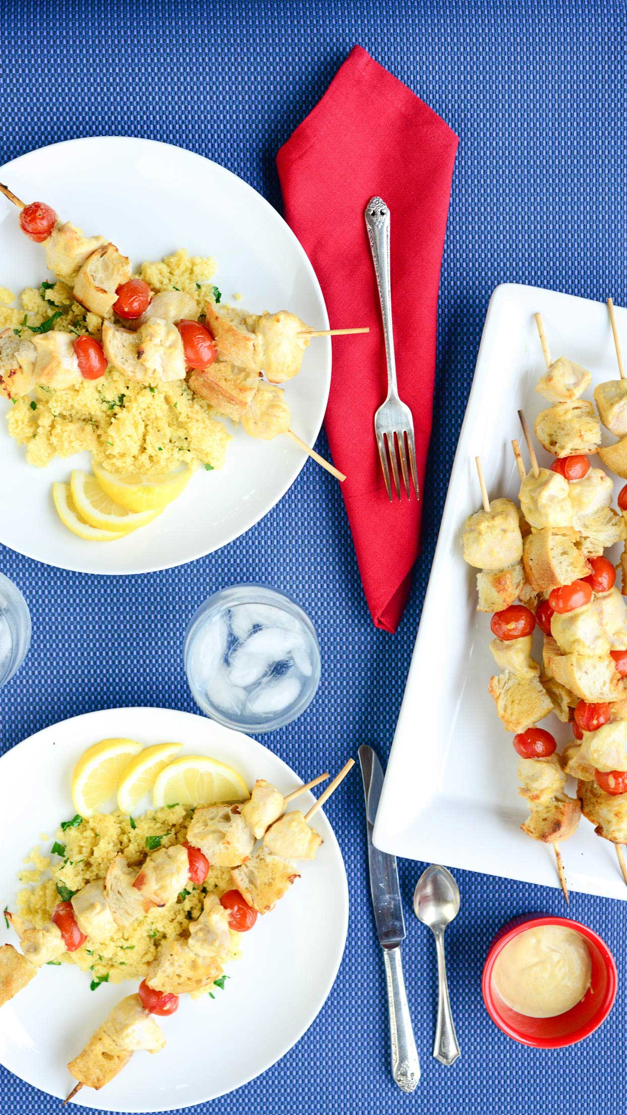 Mustard Kabobs with Lemon Couscous