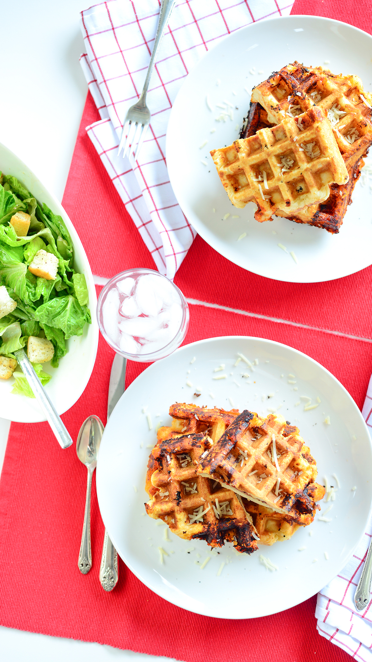 Calzone Waffles with homemade Caesar Salad