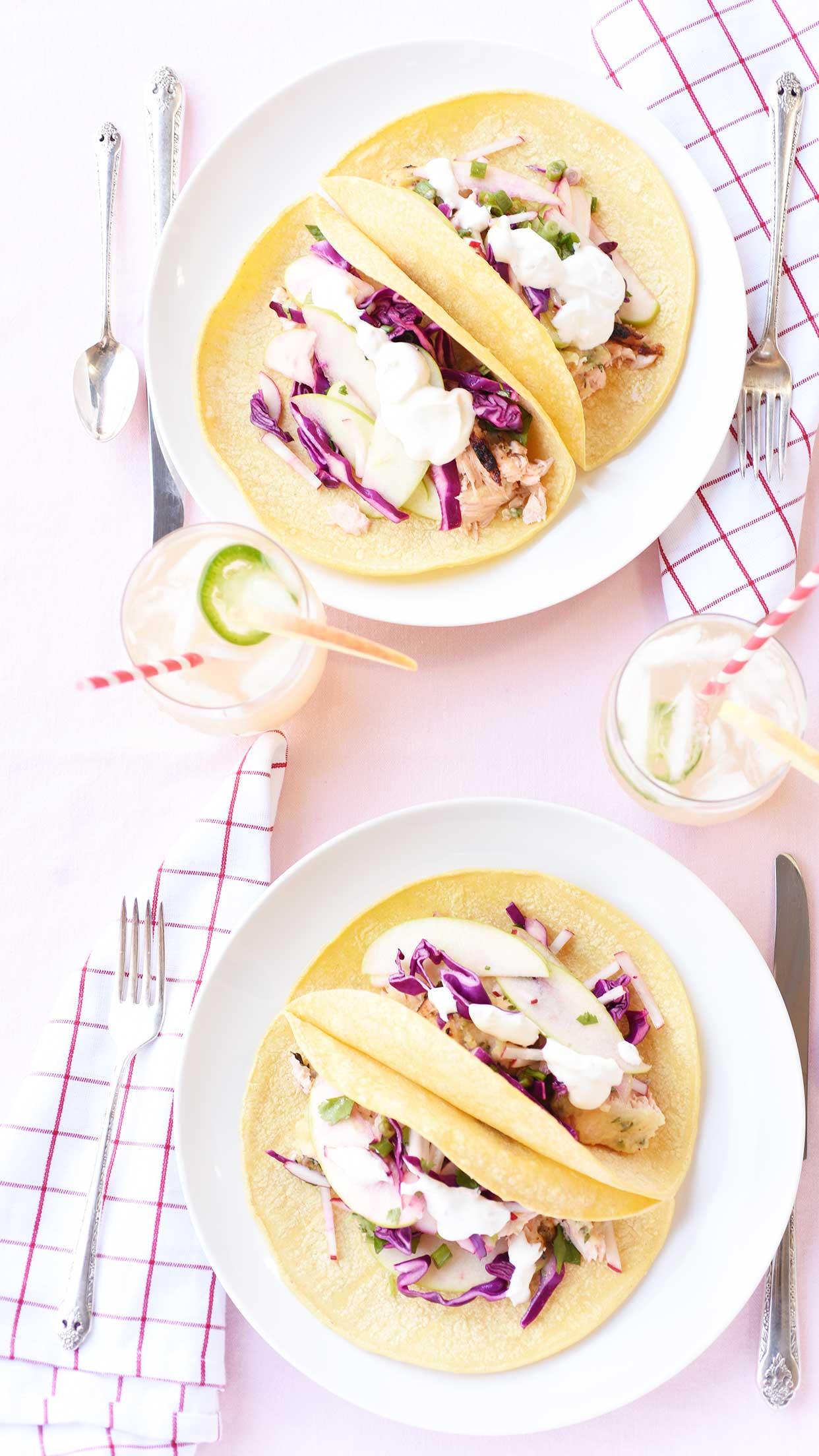 Northwest Tacos with Apple Radish Slaw