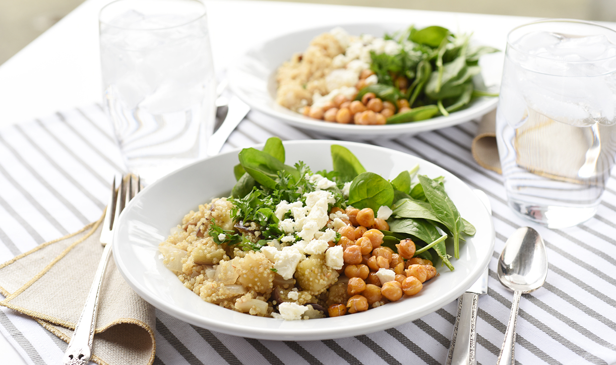 Weeknight Society | Eggplant Quinoa Bowl