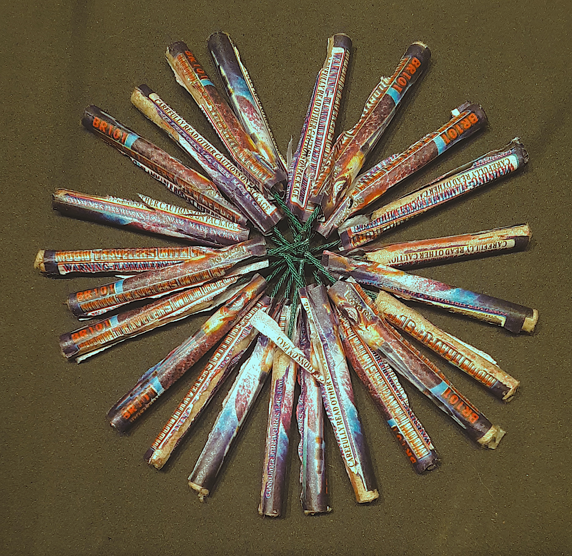 "A ""flower"" made out of bottle rockets"