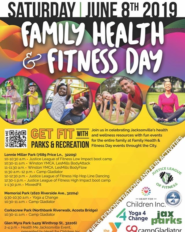 "JUNE 8th from 2 pm to 4 pm! We've partnered with the @cityofjax  @jaxparkscoj for Family Health and Fitness Day @ Glen Myra Park. Jolisa ""The Beast"" will be teaching a Zumba class, @bodyprecepts will be hosting a Bootcamp FREE to the public, there will be a sports performance workshop for youth. Health and wellness coach Josalyn Brinson will be having a meditative walk as well as doing a Q n A on Nutrition! LUNCH WILL BE PROVIDED. It's an event for the entire family! Invite your friends and family to come out and represent! ❤️❤️"