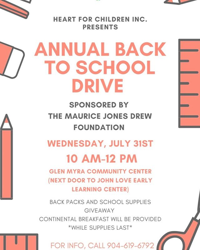 BACK TO SCHOOL DRIVE ON WEDNESDAY, JULY 31ST @ 10 am at Glen Myra community center hosted by the MAURICE JONES DREW FOUNDATION. Backpacks and school supplies /available while supplies last! First come, first serve. Looking forward to seeing you there. Please share with friends and family. Thank you!