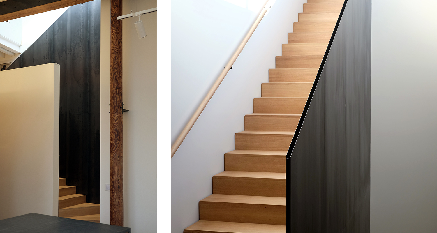 and frames the stairs…