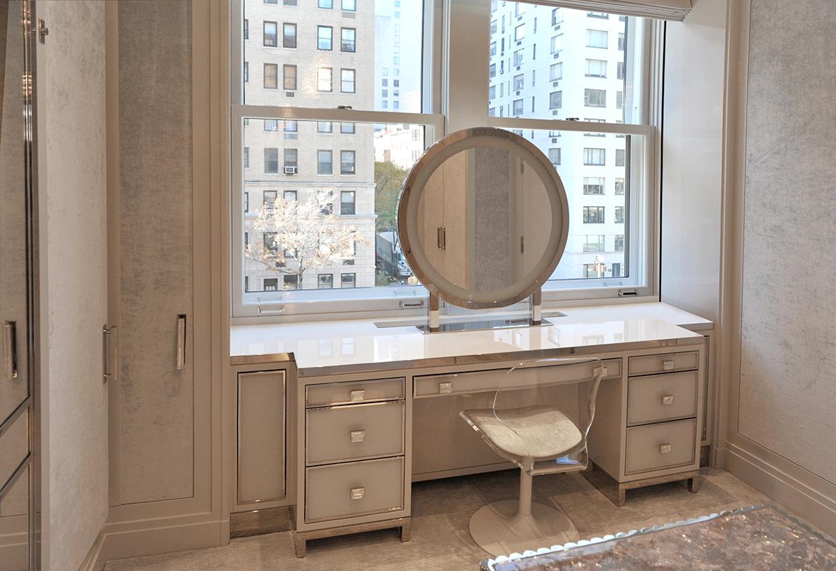 Vanity – white glass, polished nickel