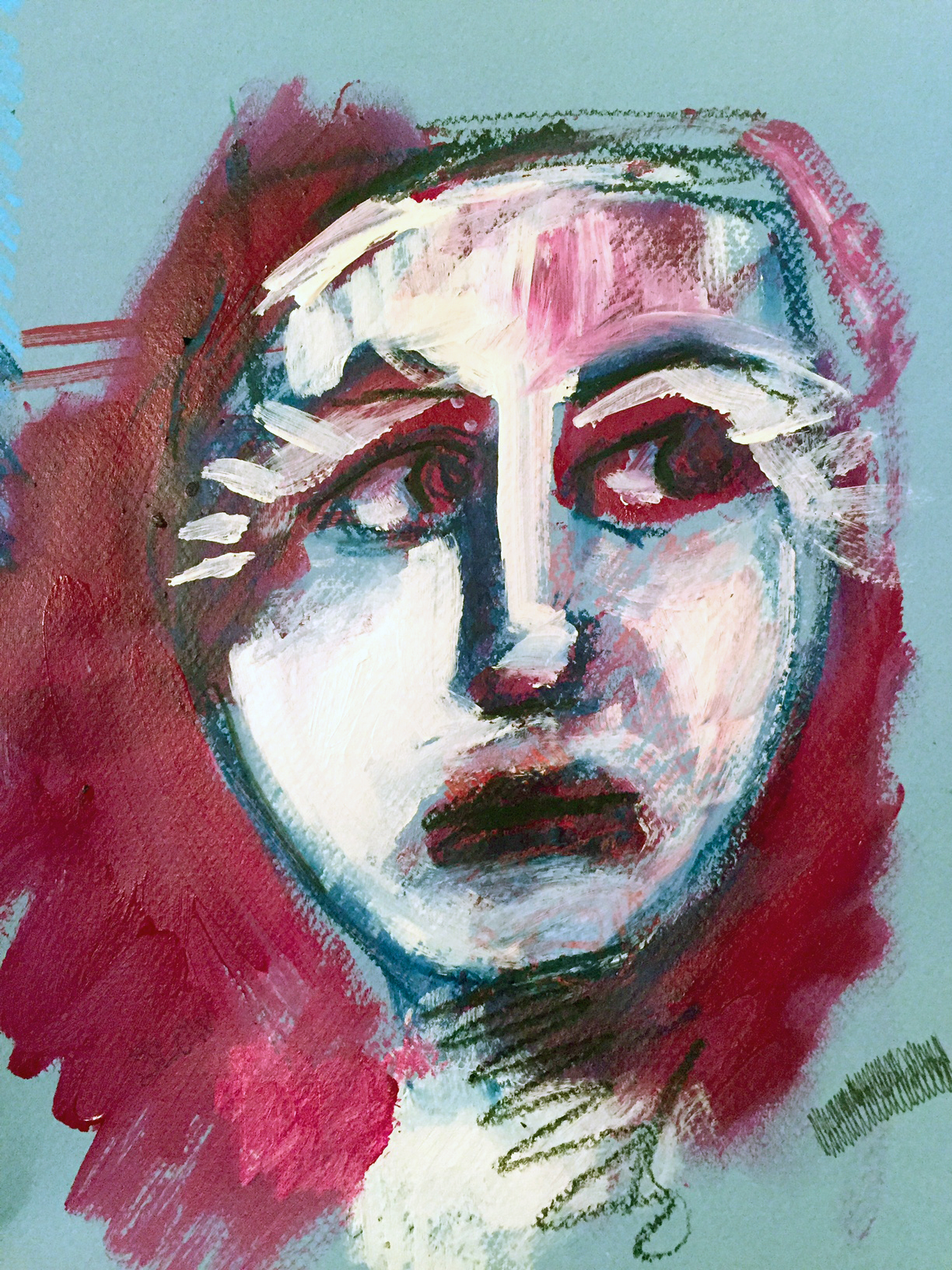 "Exercise in Futility 9"" x 12"" Acrylic, Graphite, Pastels on Paper"