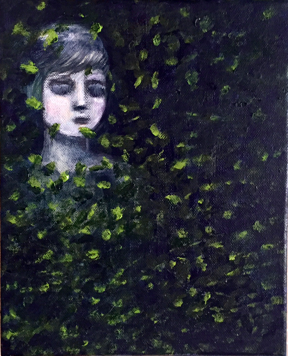 "Retreat/Emerge 8"" x 10"" Oil Acrylic Graphite on Canvas $180"