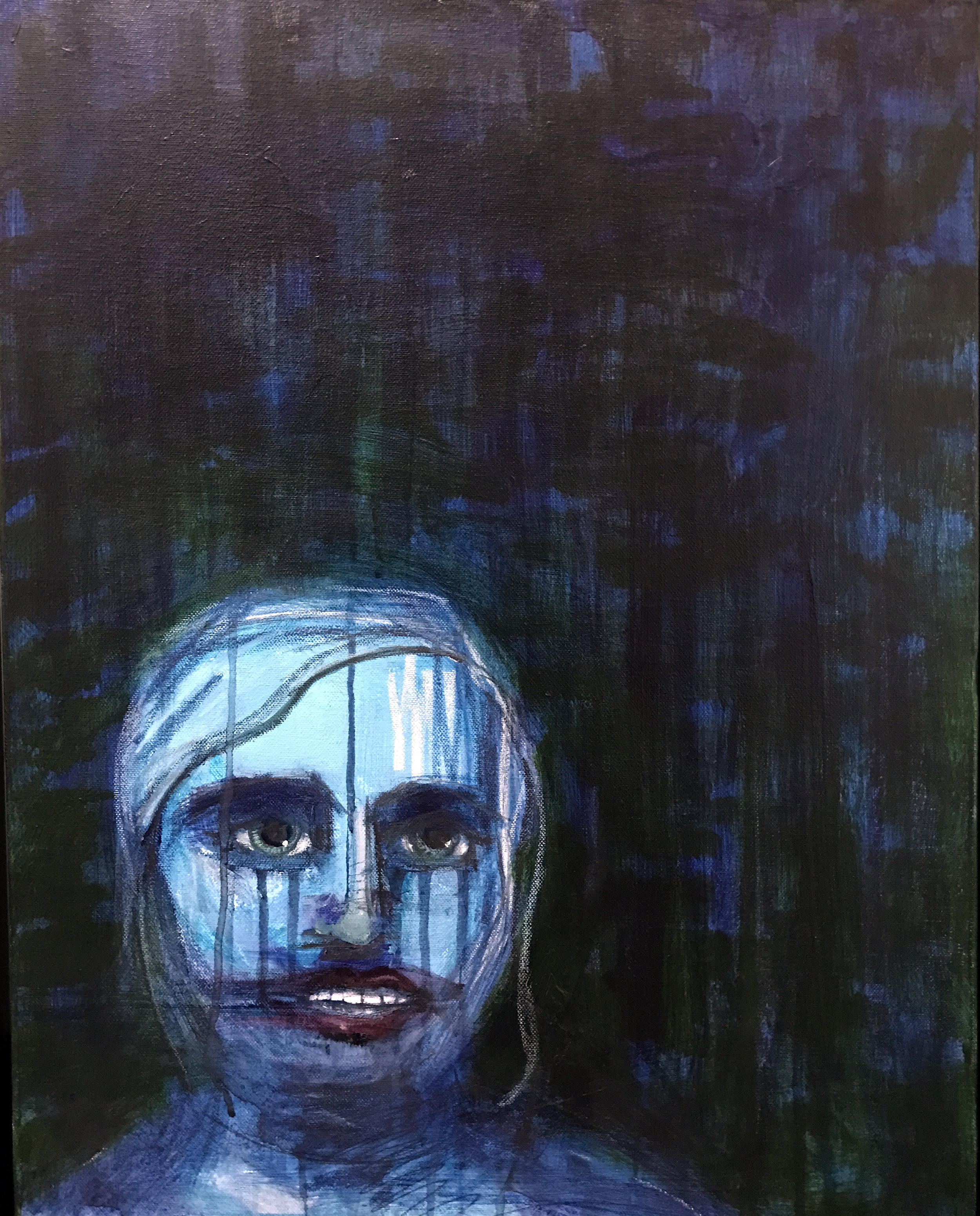 """Miss Congeniality 2017 18"""" x 24"""" Oil, Acrylic, Graphite, Pastel on Canvas"""
