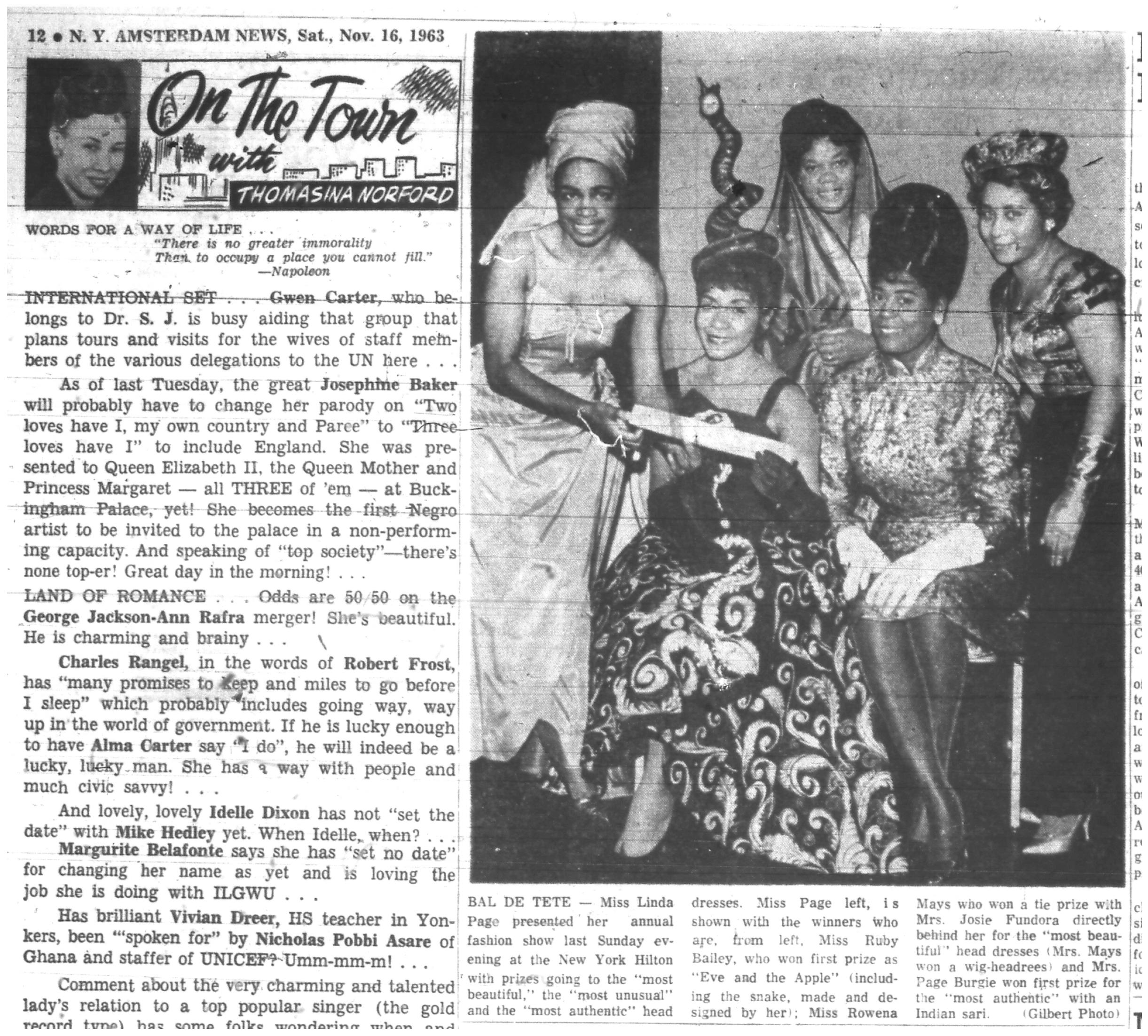 """Ruby Bailey in her """"Eve and the Apple"""" ensemble at the Bal de Tete, New York Amsterdam News  (November 16, 1963)."""