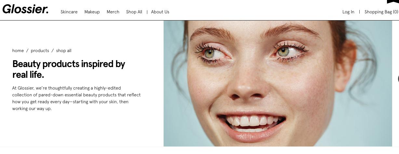Screenshot from the Glossier website.